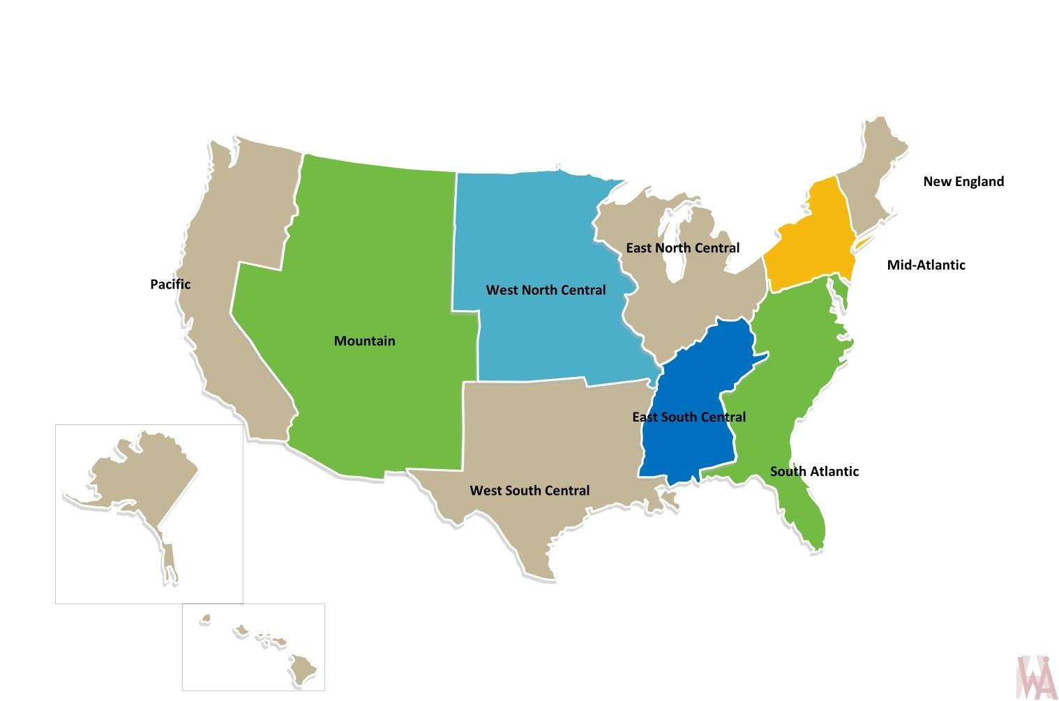 USA Census division Map