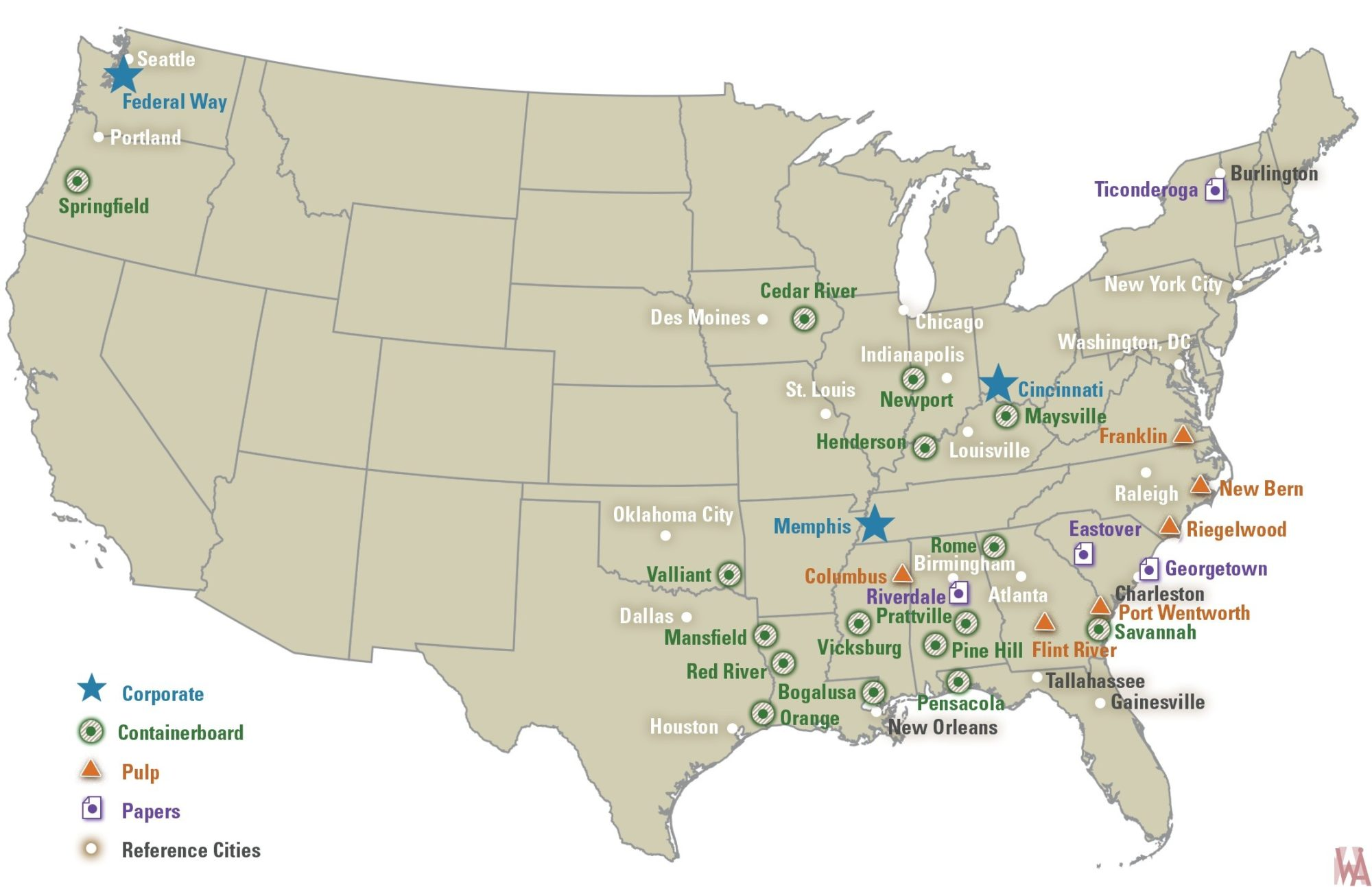 USA great industry commercial cities map