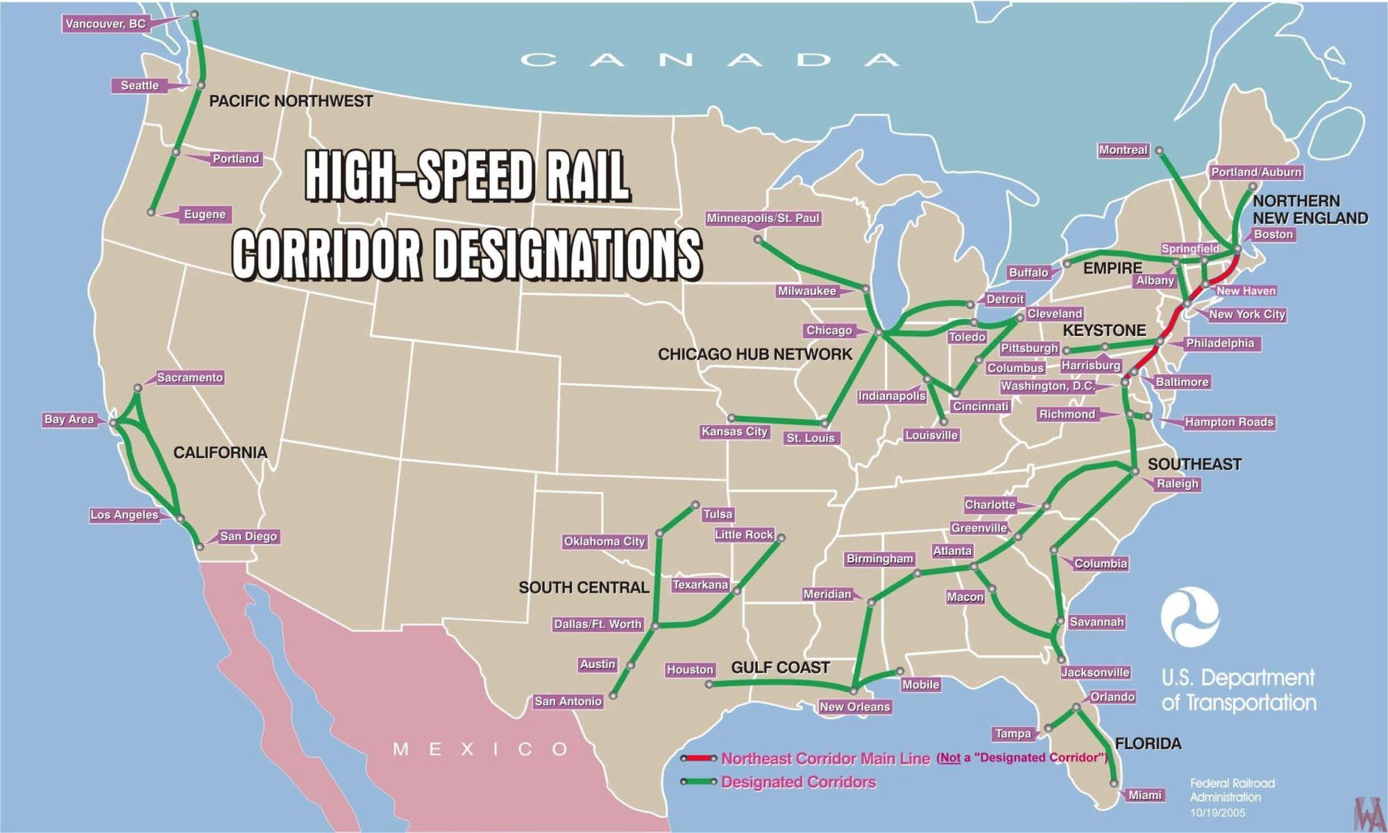USA high-speed rail corridor