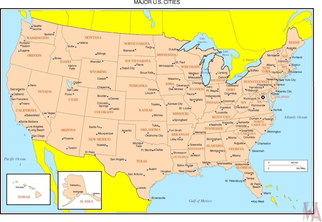 United States Political Map major cities WhatsAnswer
