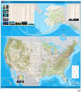 United States wall Map Physical, Rivers Mountain map