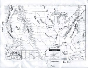 Physical Map of the United States with Mountains, Rivers and Lakes