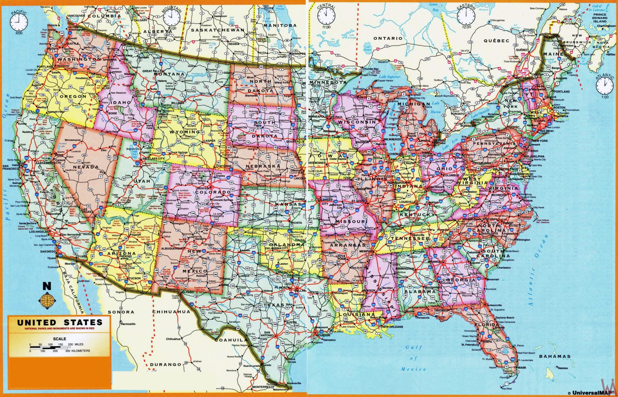 Economic HD Map of USA || Political Time Zone Map