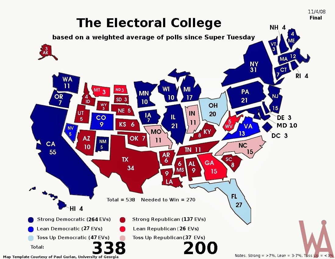 Electoral College Map of USA | Political Election