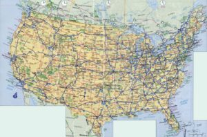 high resolution highways and political map of the USA 1