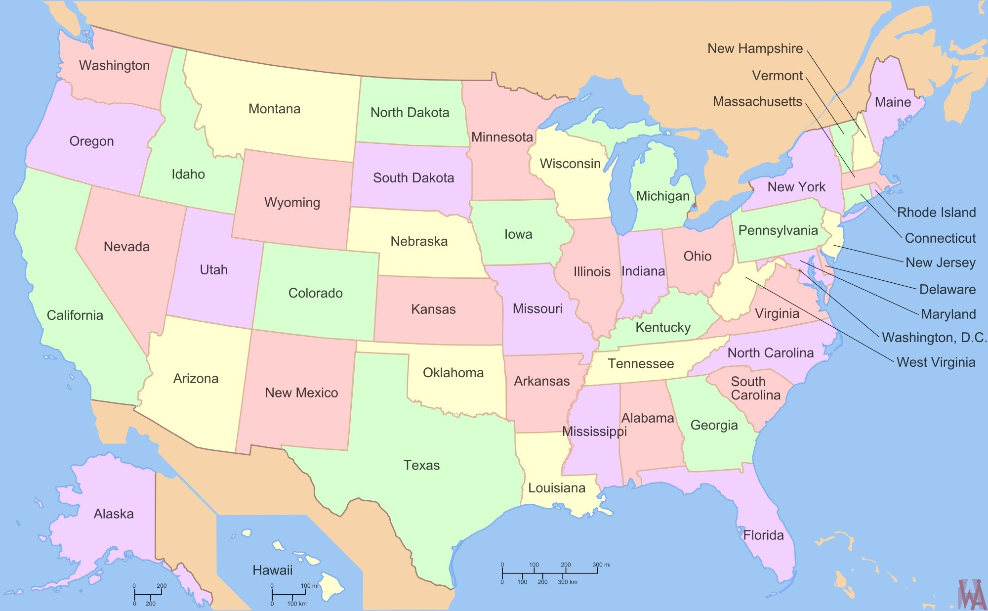 large state Map of the USA