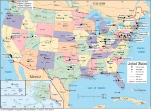 Major Tourist Attractions Map of USA
