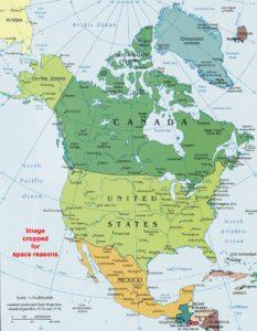 north america  political wall map