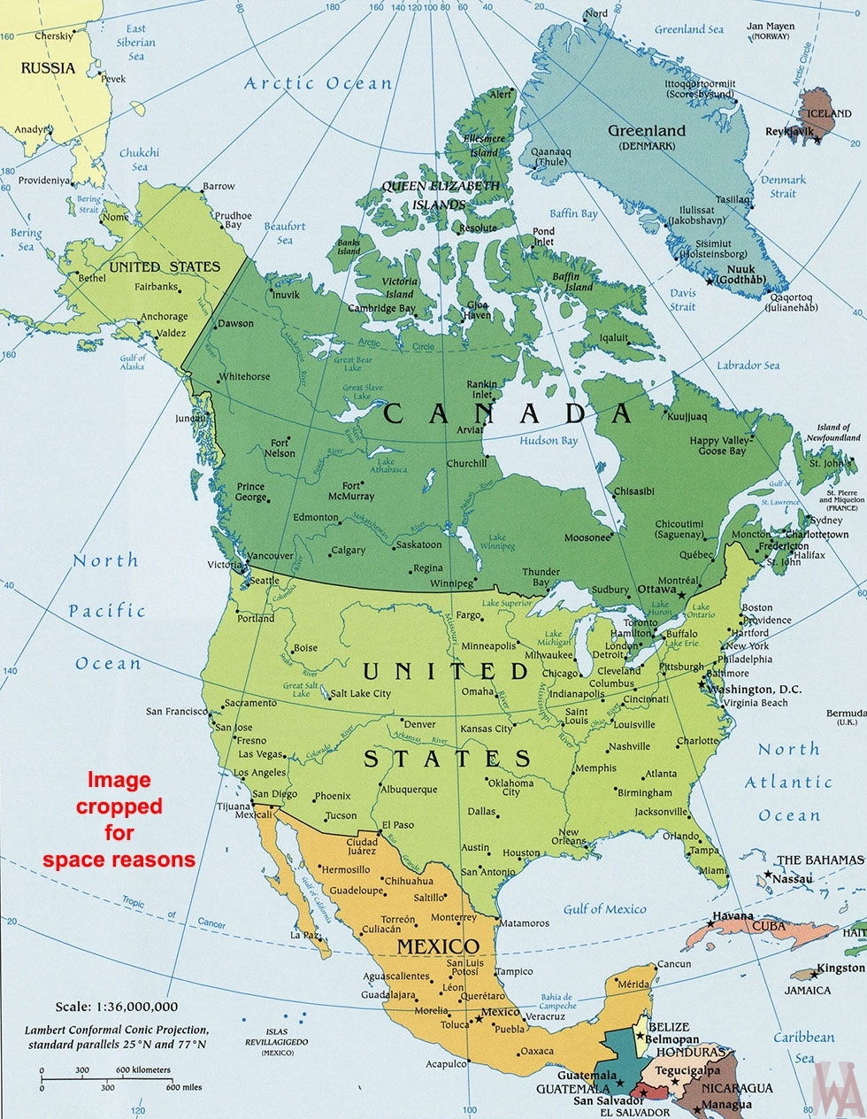 north america political wall map | WhatsAnswer