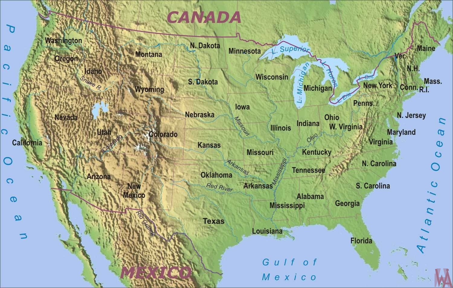 Physical Geographical Map Of Usa With Rivers And Mountains Whatsanswer