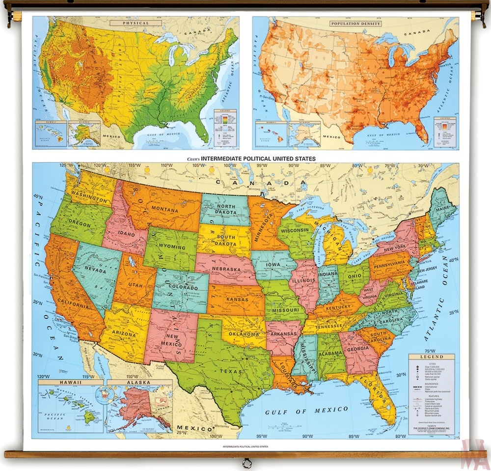 political map of the USA. color