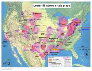 shale gas field map of the USA