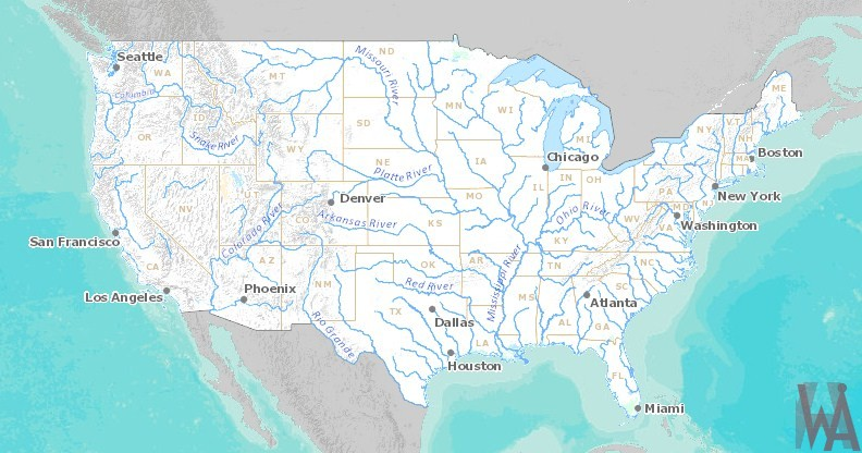 USA River Map WhatsAnswer - State Of The Map 2017 Us