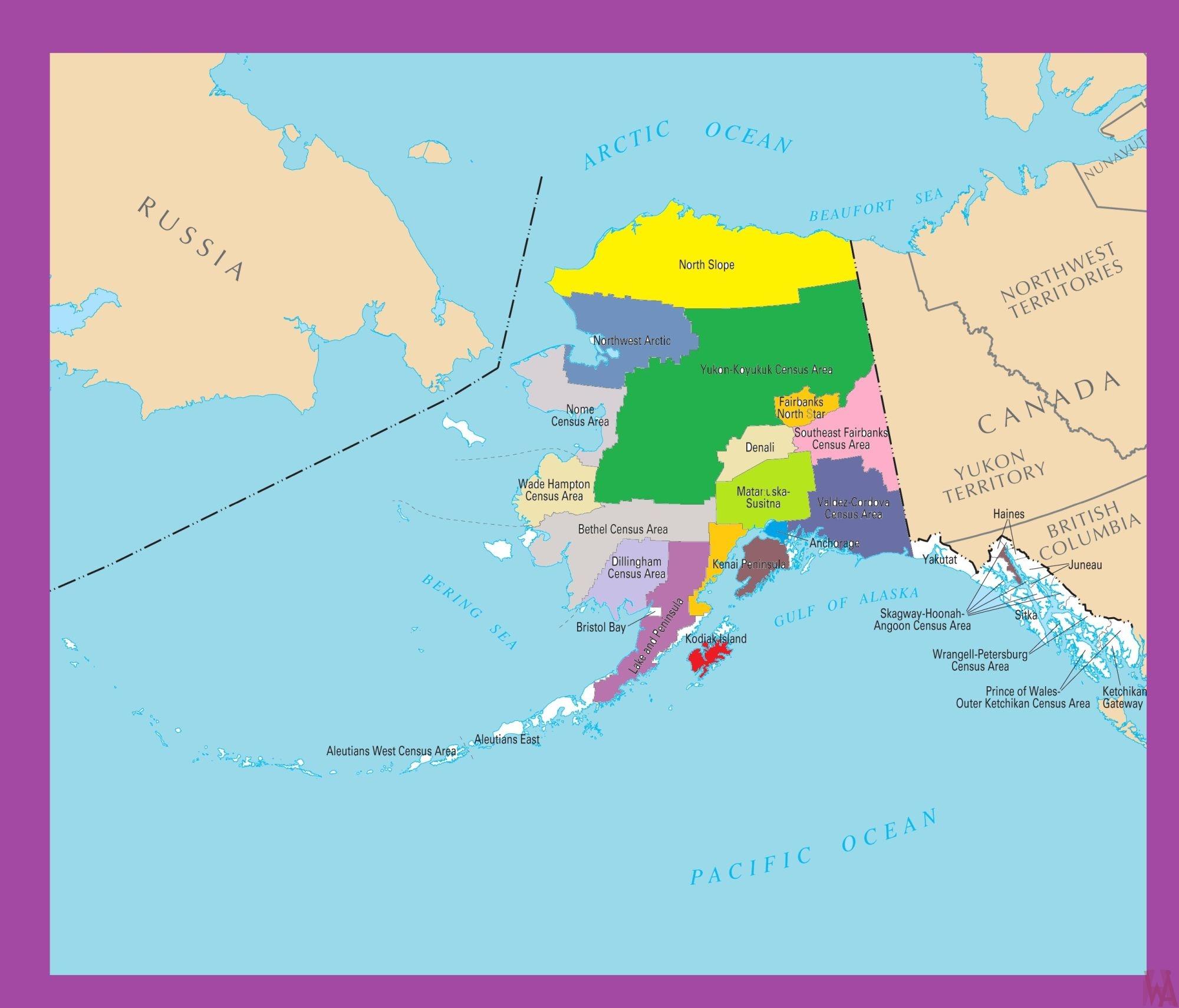 Alaska Color County Map |  Color County Map of Alaska -2