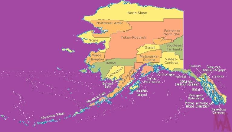 Alaska Color County Map | Color County Map of Alaska