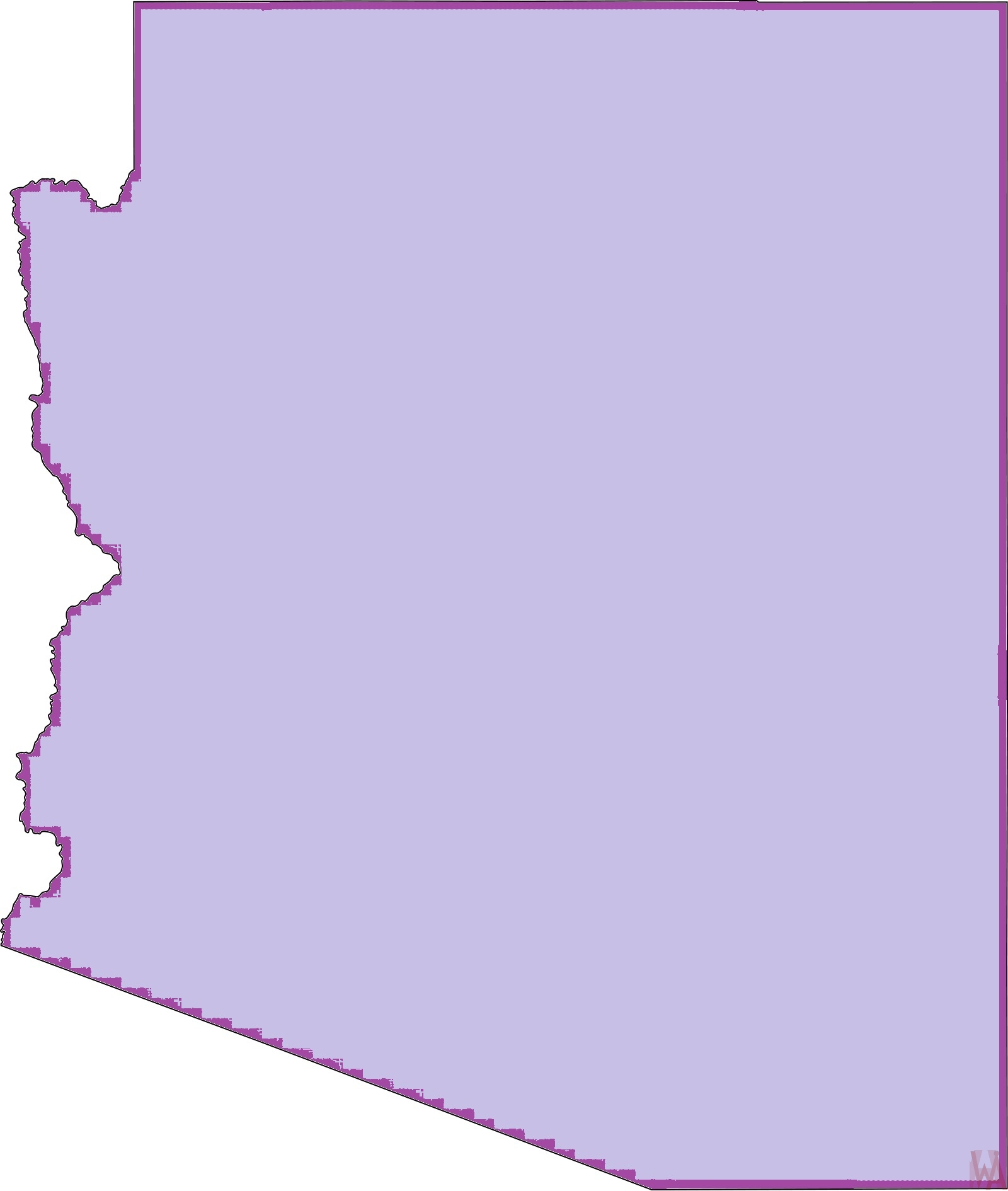 Arizona Blank Outline Map |  Blank Outline Map of Arizona – 4