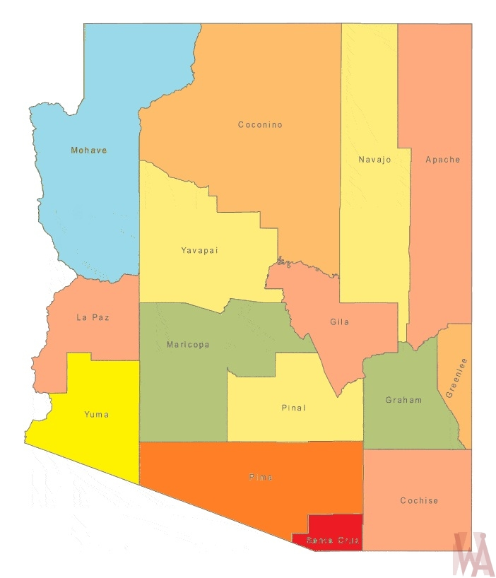 Arizona County  Map |  County Map of Arizona