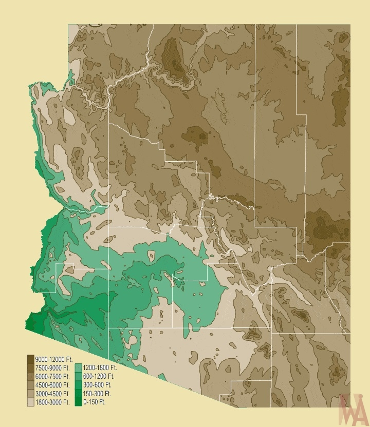 Arizona Physical  Map | Physical  Map of Arizona – 1