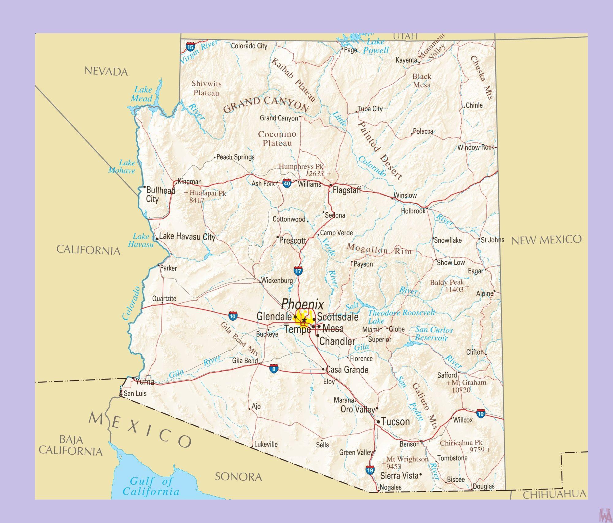Arizona Political  Map    Political  Map of Arizona – 3
