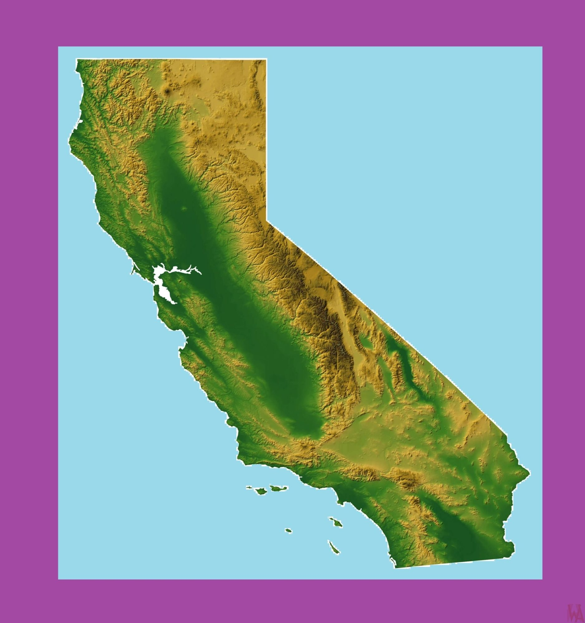 California Topographical Map | Topographical Map of California ...