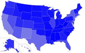 USA map of Speak in English