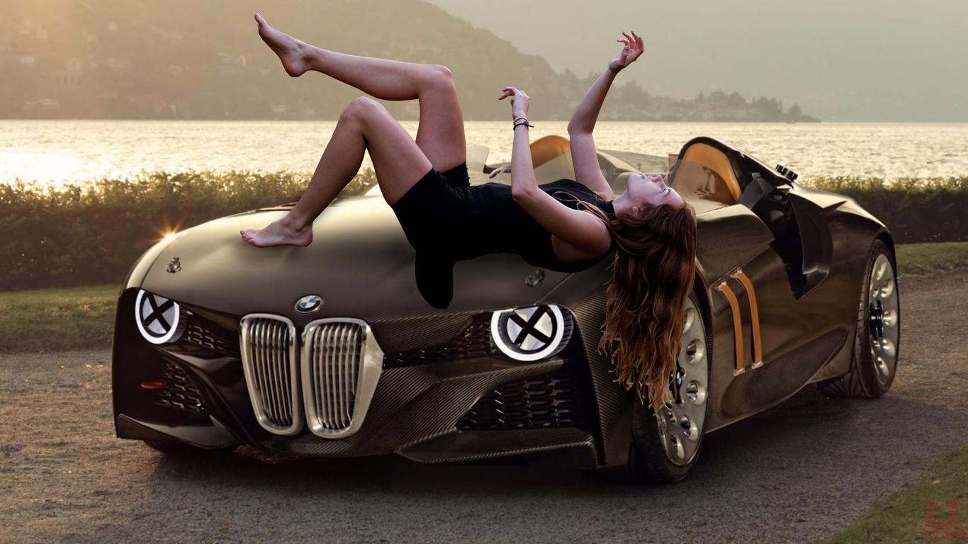 Beautiful girl lay on BMW car Wallpaper HD