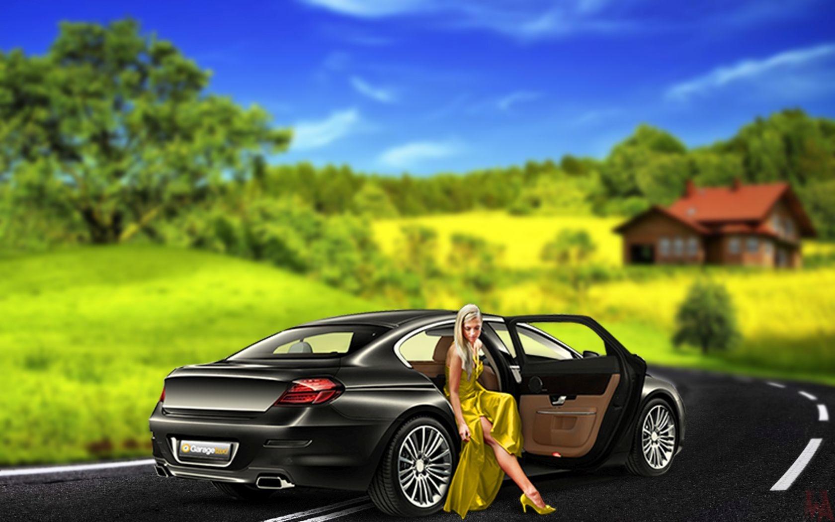 Black car with beautiful girl wallpaper