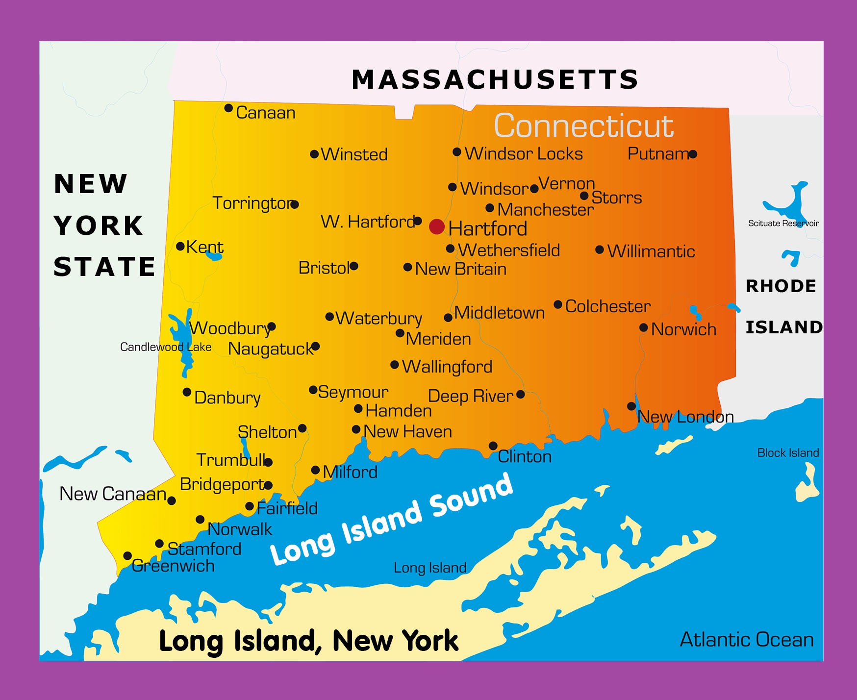 Connecticut Maps with states and cities | WhatsAnswer