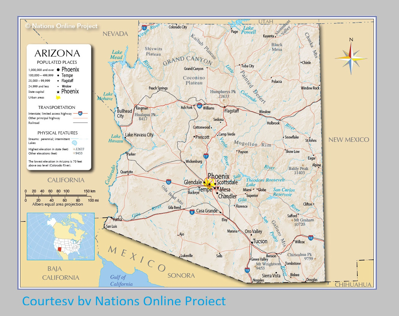 Arizona Transportation And Physical Map | Large, Printable Map
