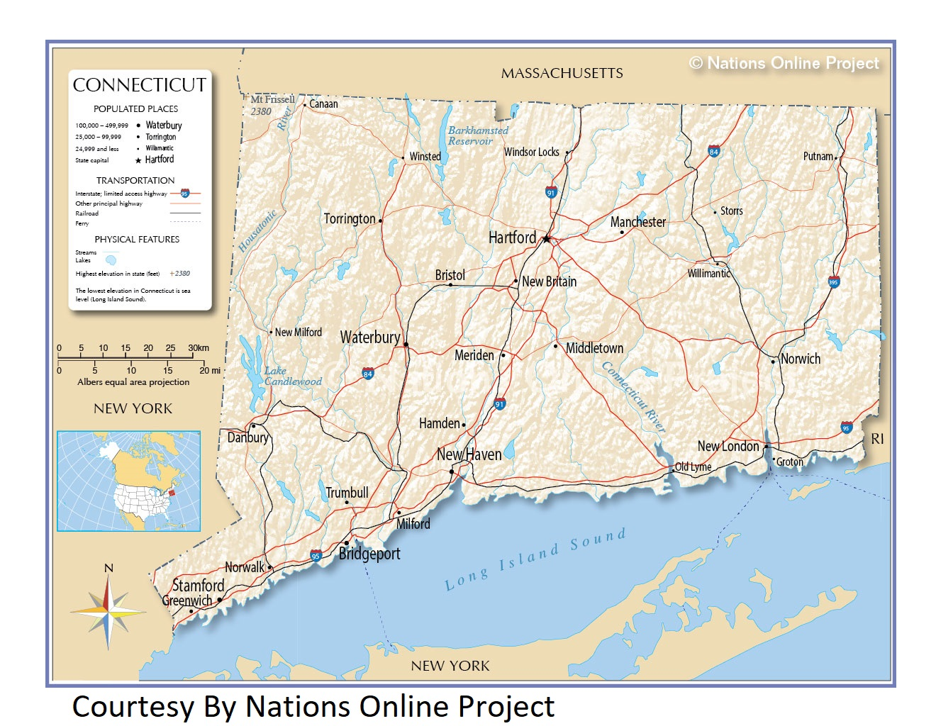 Connecticut  Transportation and physical map large printable