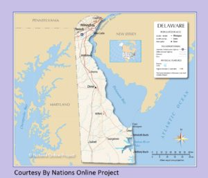 Delaware  Transportation and physical map large printable