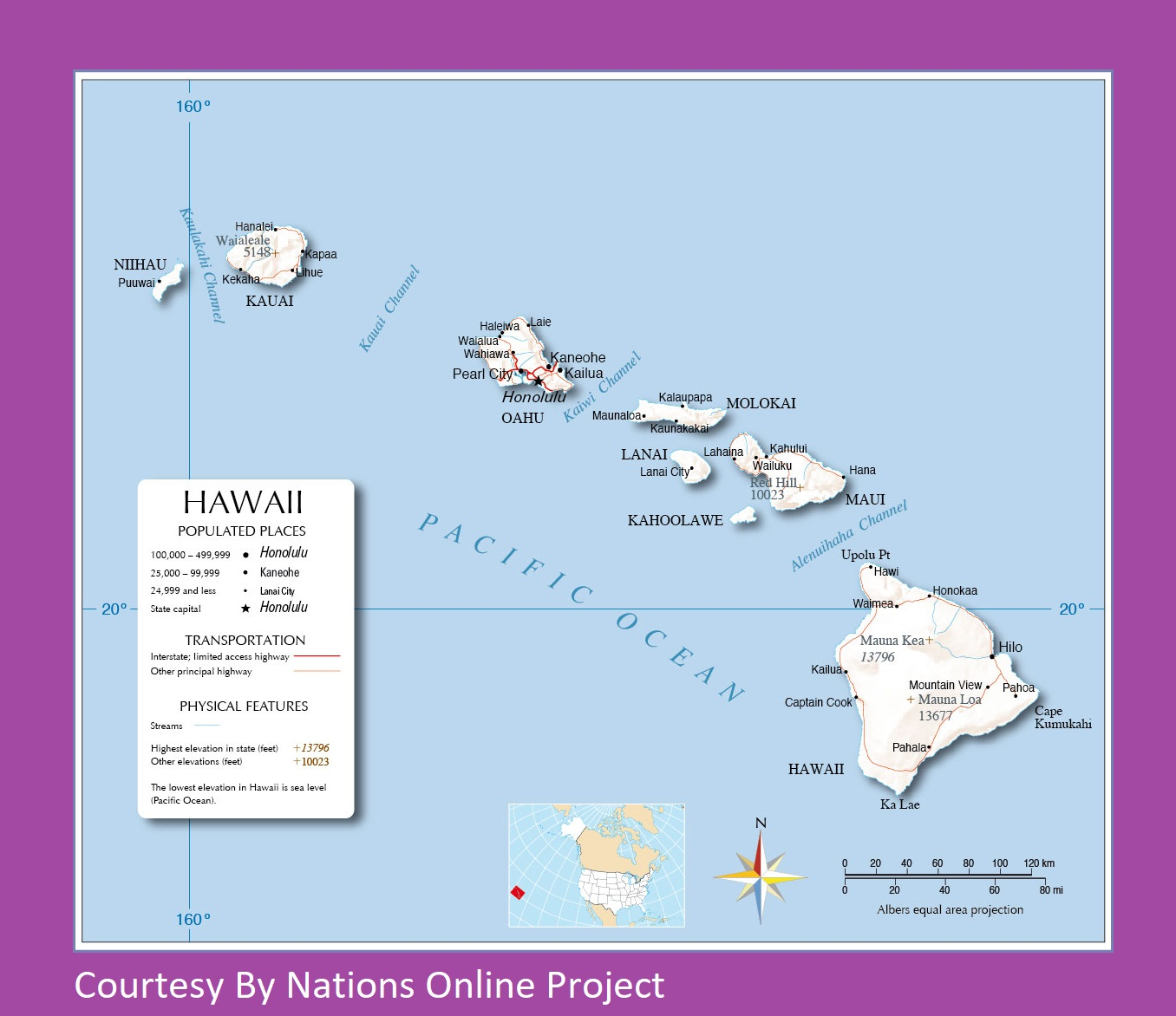 Hawaii Transportation And Physical Map Large Printable