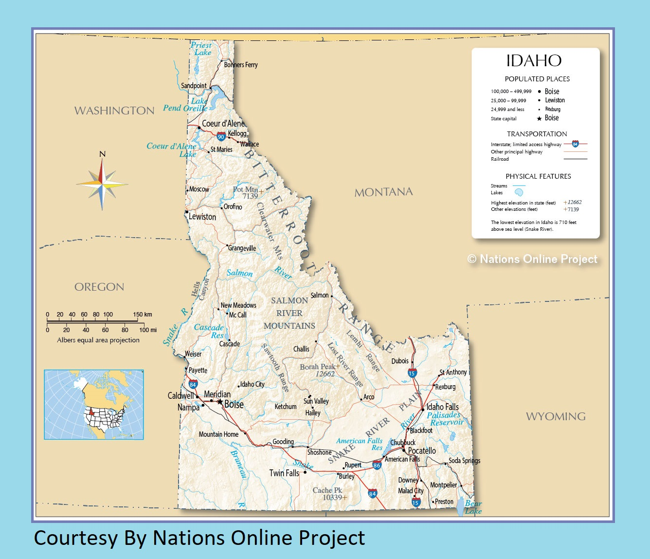 Idaho Transportation And Physical Map | Large Printable Map