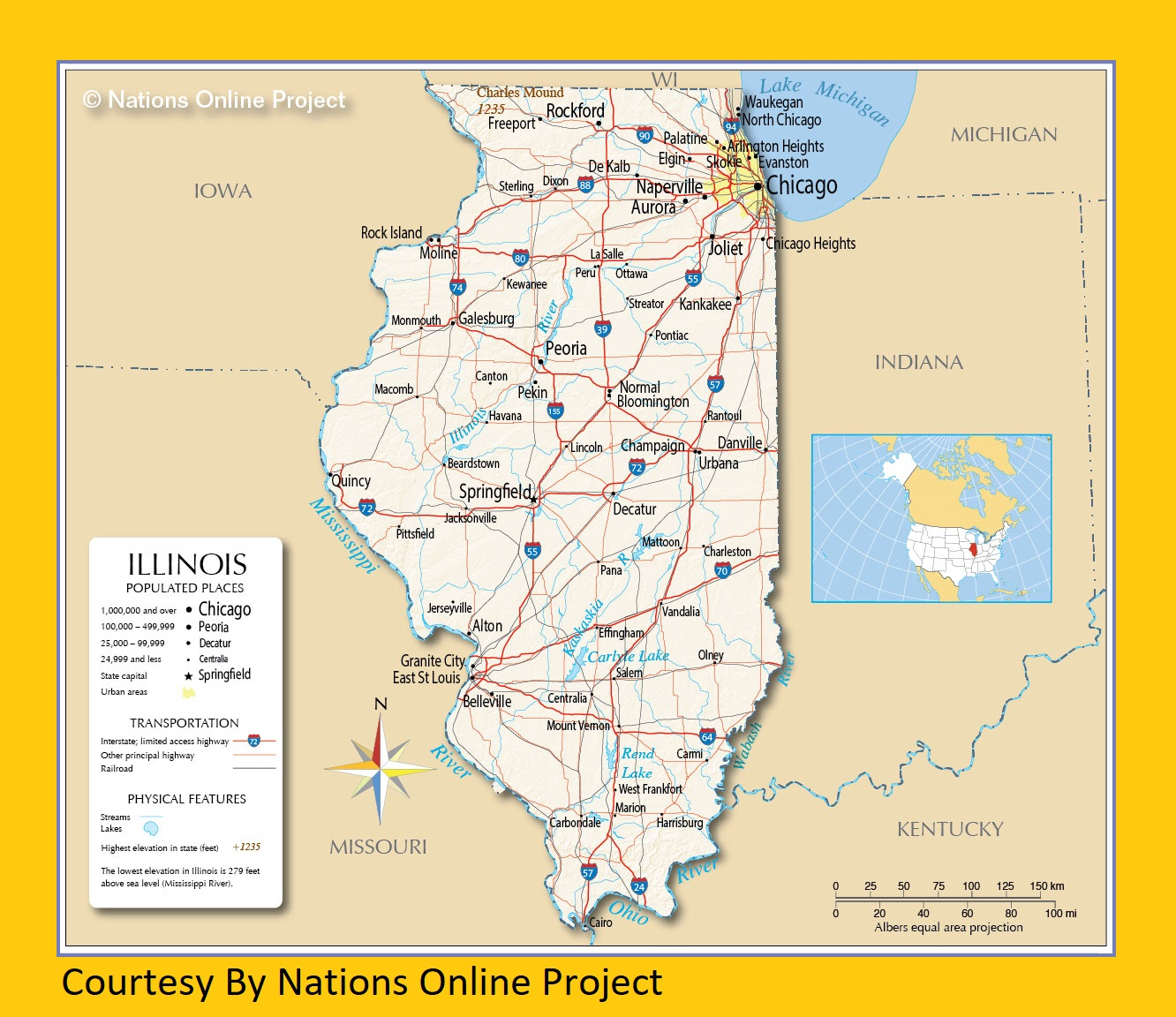 Illinois Transportation and physical map large printable