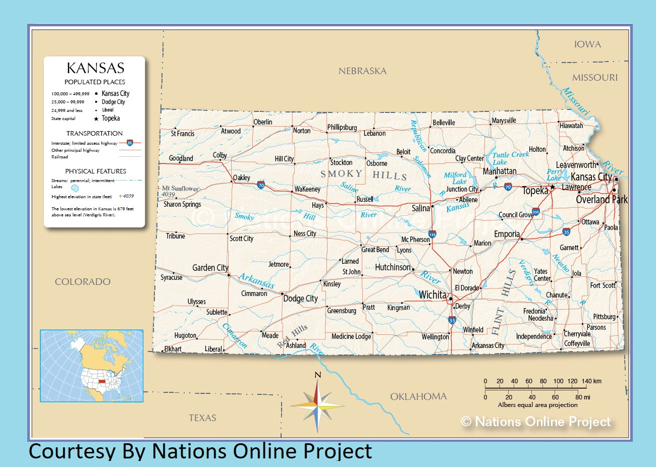 Kansas Transportation and physical map large printable