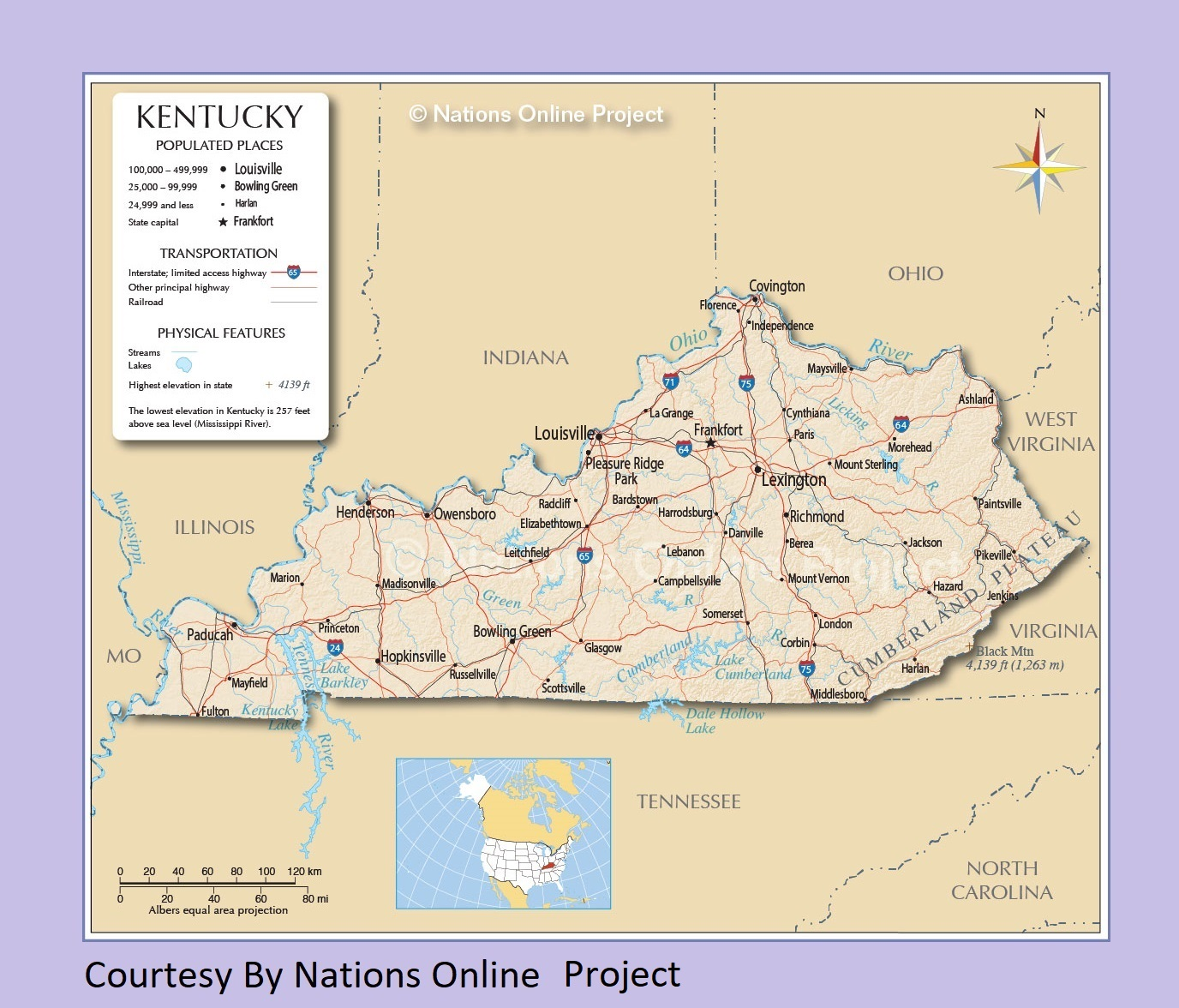 Kentucky Transportation And Physical Map | Large Printable Map