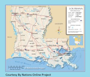 Louisiana Transportation and physical map large printable