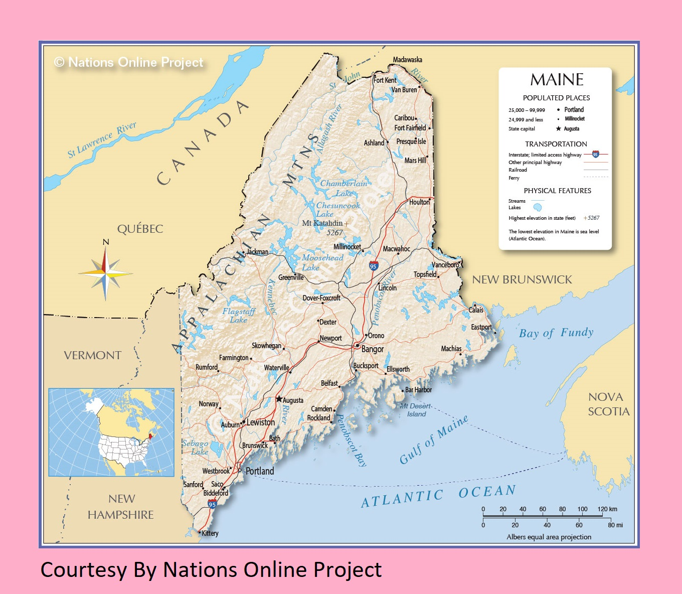 Maine Transportation And Physical Map | Large Printable Map