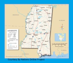 Mississippi Transportation and physical map large printable