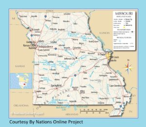 Missouri Transportation and physical map large printable