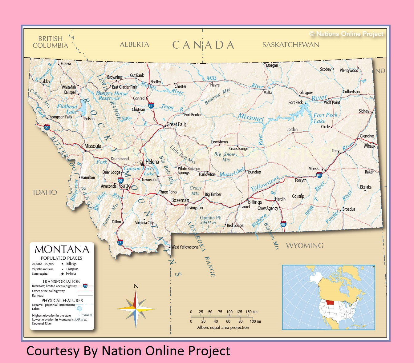 Montana Transportation and physical map large printable