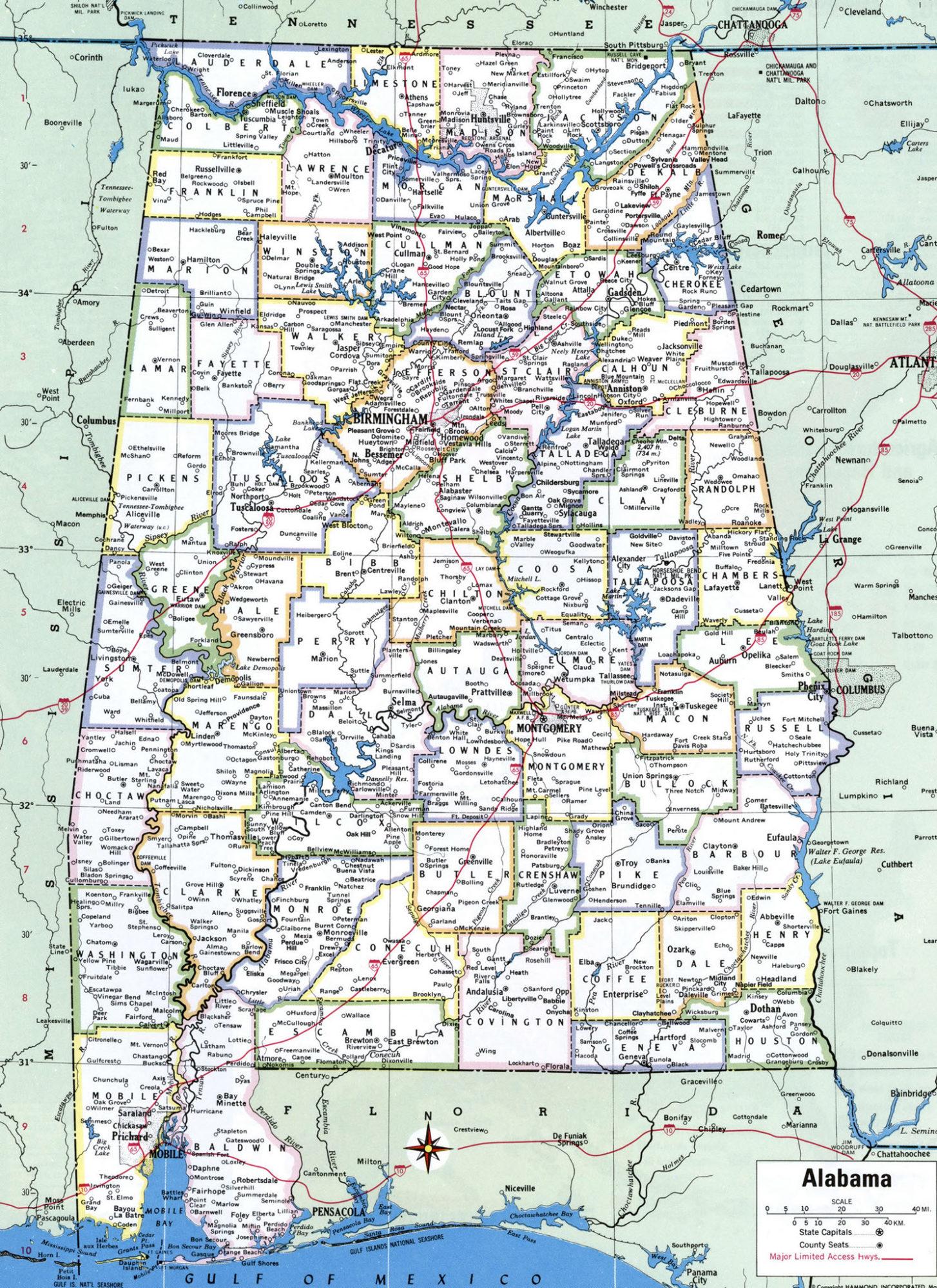Alabama Large Political  Map   Political  Map of Alabama With Capital , city and River lake-7