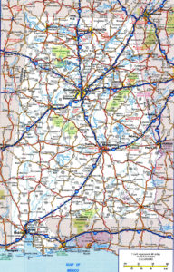 Alabama Large Political Map | Political Map of Alabama With Capital, City and River Lake