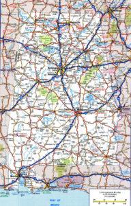Alabama Large Political Map | Political Map of Alabama With Capital, City and River Lake