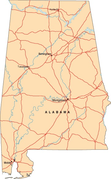 Alabama Labeled  Map |  Labeled  Map of Alabama, Large Printable
