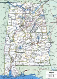 Alabama Large Political  Map   With Capital , City and River lake Large Printable