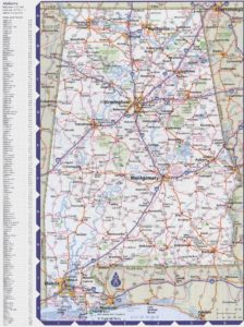 Alabama Large Political  Map   With Capital , City and River lake Largely Printable