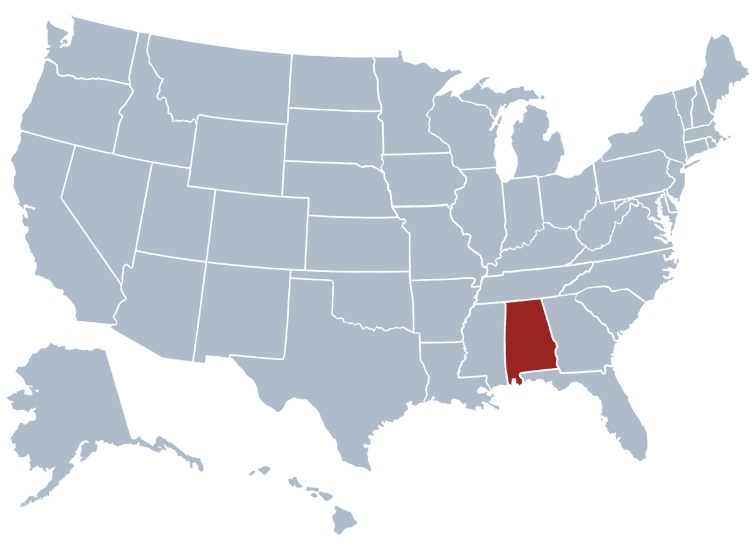 Alabama Location  Map |  Location  Map of Alabama Large Printable
