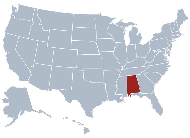 Alabama Location Map | Location Map of Alabama Large Printable