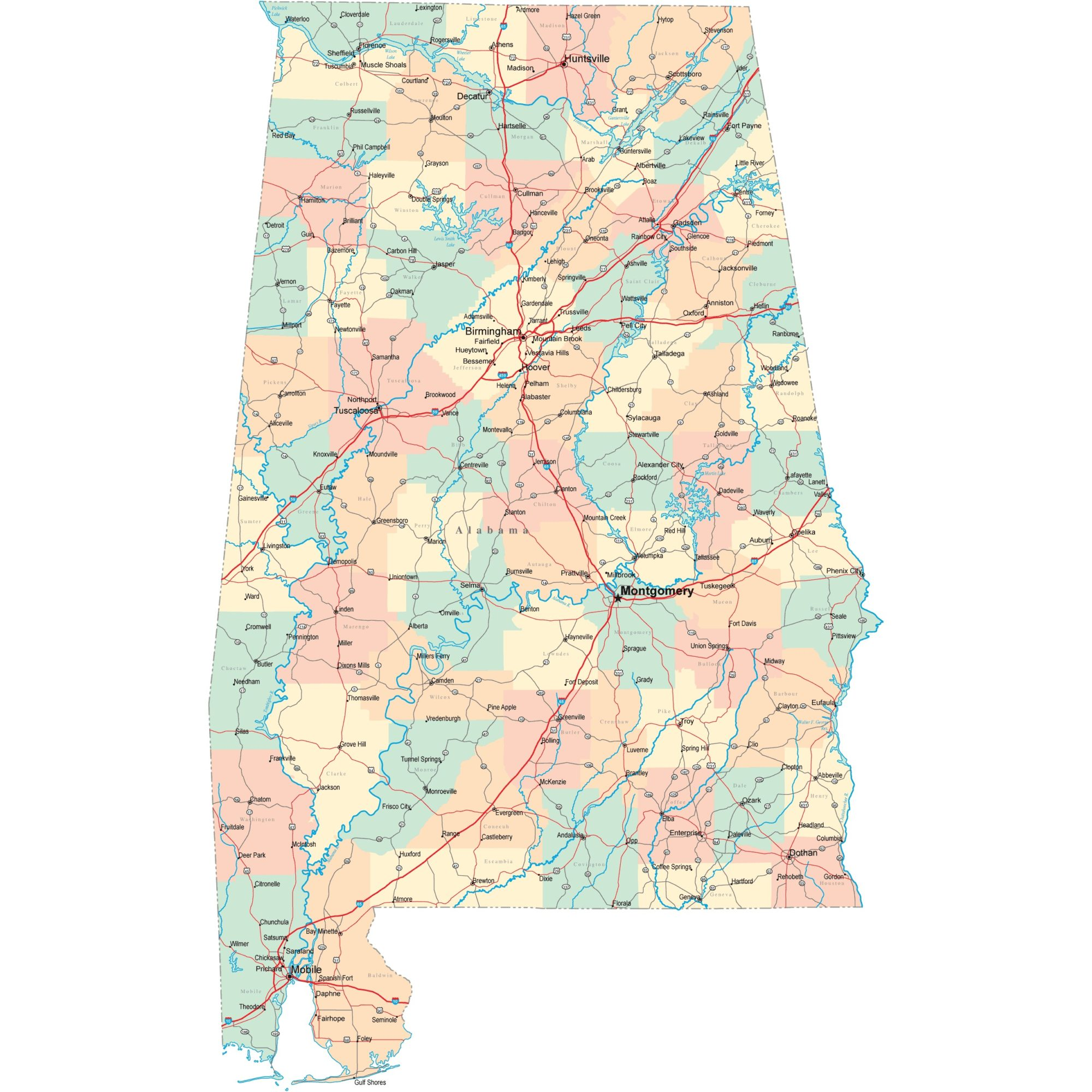 Alabama Road  Map   Road  Map of Alabama